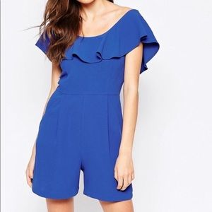 French Connection   Royal Blue Ruffle Romper 8